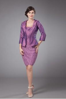 Slik and Taffeta Strapless Short Sheath Dress with Jacket