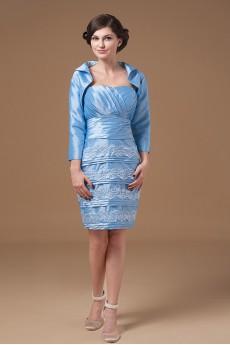 Taffeta Scoop Neckline Short Sheath Dress with Jacket
