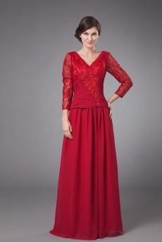 Chiffon V-Neckline Floor Length Empire Dress with Long Sleeves