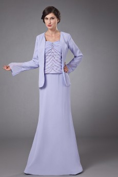 Chiffon Coat Neckline Floor Length Column Dress with Ruffle