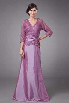 Taffeta and Lace V-Neckline Floor Length A-line Dress with Three-quarter Sleeves