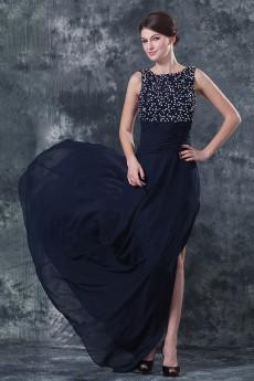 Chiffon Round Neckline A-line Dress with Beaded