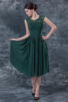 Chiffon Jewel Neckline Short Dress