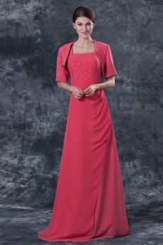 Chiffon Square Neckline Floor Length A-line Dress with Jacket