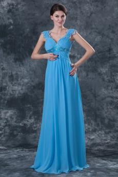 Chiffon Straps Neckline Floor Length Column Dress