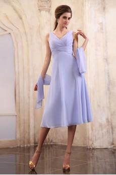 Chiffon V-Neckline Tea-Length Empire Dress with Ruffle
