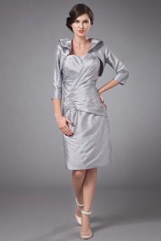 Taffeta Sweetheart Short Sheath Dress with Ruffle and Jacket