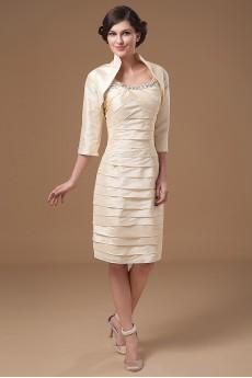 Taffeta Scoop Neckline Short Sheath Dress with Beaded Ruffle and Jacket