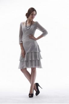 Chiffon Scoop Neckline Short A-line Dress with Three-quarter Sleeves