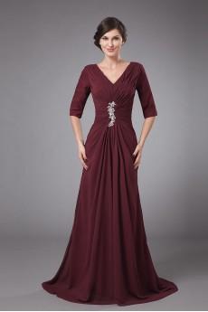 Chiffon V-Neckline A-line Dress with Pleated and Ruffle