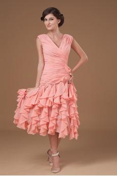 Yarn V-Neckline Short Dress with Ruffle