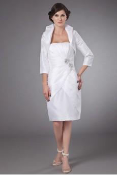 Satin Strapless Short Sheath Dress with Ruffle and Jacket