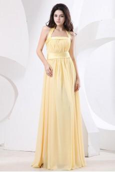 Chiffon Halter Neckline Floor Length Empire Dress with Ruffle