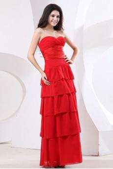 Chiffon Sweetheart Floor Length Empire Dress with Ruffle