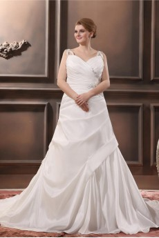 Satin Beading V-Neck Plus Size Gown