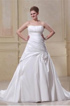 Gorgeous Satin Strapless A-Line Plus Size Gown