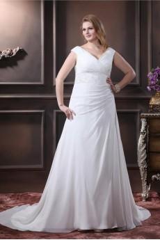 Chiffon V-Neck A-Line Plus Size Gown