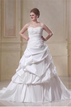 A-Line Taffeta Sweetheart Beading Plus Size Gown