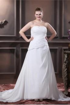 Chiffon Satin Strapless Beading A-Line Plus Size Gown
