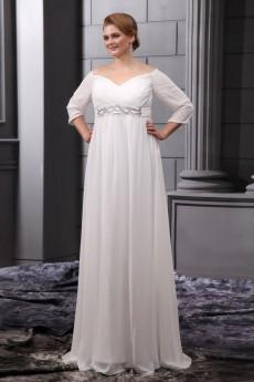 Chiffon Off-the-Shoulder Floor Length Plus Size Gown