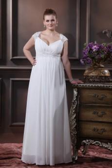 V-Neck Chiffon Satin Floor Length Plus Size Gown