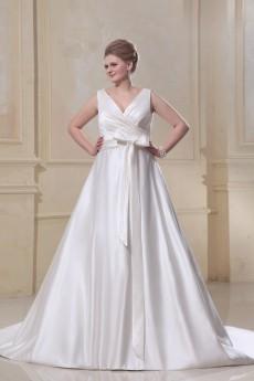 V-Neck Sash Ruffle Plus Size Gown