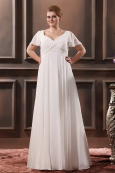 Floor Length V-Neck Plus Size Gown