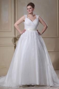 Yarn V-Neck Beading Plus Size Gown