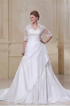 Taffeta Lace Beading V-Neck Plus Size Gown