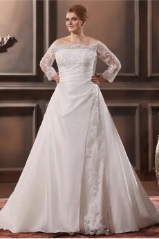 Lace Taffeta Off-The-Shoulder Plus Size Gown