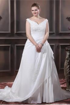 V-Neck Taffeta Beading Embroidered Plus Size Dress