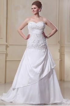 Sweetheart Satin Organza Ruffle Beading Plus Size Dress