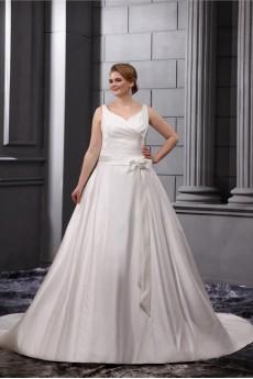 Satin V-Neck A-Line Plus Size Gown