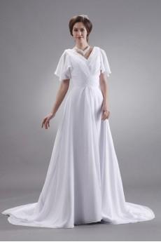 Ruffle V-Neck Short Sleeve Plus Size Dress