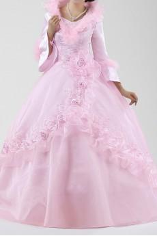 Satin Jewel Neckline Floor Length Ball Gown with Handmade Flowers