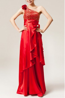 Satin One Shoulder Floor Length A-line Dress with Sequins