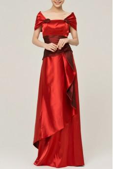 Satin Off-the-Shoulder Floor Length A-line Dress with Handmade Flowers