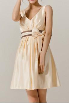 Satin V-neck Short A-line Dress with Bow