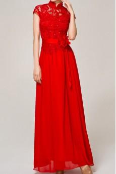 Lace High Collar Neckline Floor Length A-line Dress with Handmade Flowers