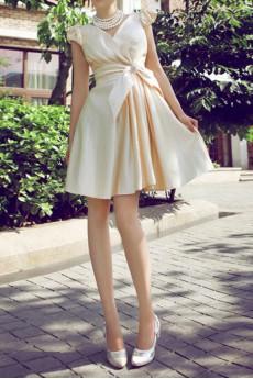 Satin V-neck Short Corset Dress with Crystal