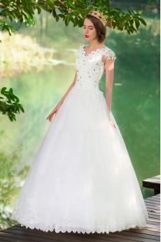 Lace,Satin,Tulle V-neck A-line Dress with Diamond