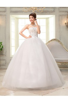 Lace and Tulle Strapless Ball Gown Dress with Embroidery