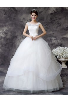 Lace and Tulle Scoop Ball Gown Dress with Bead