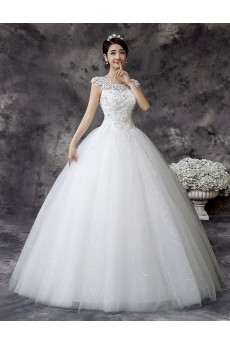 Lace and Tulle Scoop Ball Gown Dress with Embroidery