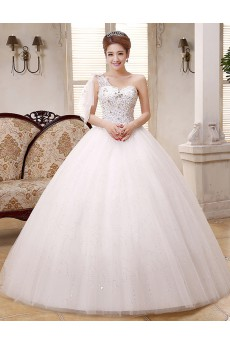 Lace and Tulle one-shoulder Ball Gown Dress with Sequin