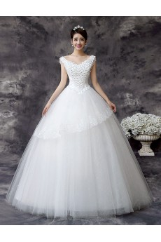 Lace and Tulle V-Neck Ball Gown Dress with Handmade Flower
