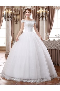 Lace and Tulle Off-the-Shoulder Ball Gown Dress with Beading