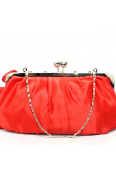 Satin Bride/Bridesmaids Handbag with Rhinestone and Handmade Flower H