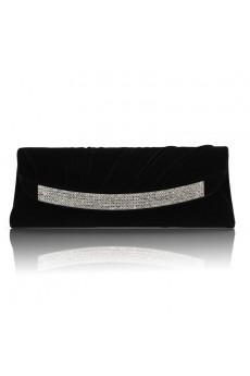 Velvet Shell Handbag with Rhinestone