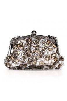 Satin Handbag with Luxurious Crystal